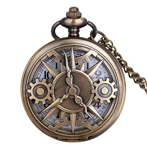 Profusion circle Unisex Hollow Gear Number Quartz Pocket Watch Pendant Necklace