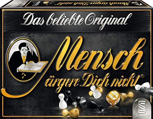 Schmidt Spellen 49290 mens ergere jezelf niet, editie zwart, familiespel, kleurrijk