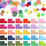 7800 Pieces Tissue Paper Squares Bulk 30 Assorted Colors Gift Tissue Paper for Arts Craft DIY Scrapbooking Scrunch Art, 1 Inch and 2 Inches