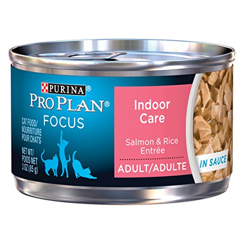 Purina Pro Plan Hairball, Indoor Wet Cat Food, FOCUS Indoor Care Salmon & Rice Entree in Sauce - (24) 3 oz. Pull-Top Cans