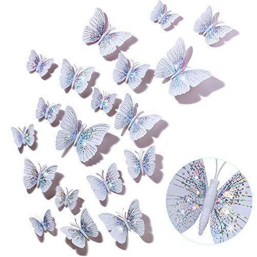 48 Pegatinas de Pared de Mariposa 3D con Purpurina Calcomanías de Pared de Mariposa Extraíbles Pegatinas de Brillantes Mariposas Animadas para Decoración de Habitación Hogar Oficina, Blanco