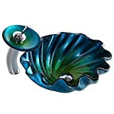 KunMai Blue&Green Seashell Wave Tempered Glass Bathroom Vessel Sink & Waterfall Faucet Set Chrome