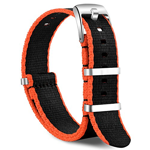 OLLREAR Nylon Correa Reloj Lienzo Correa Relojes - 15 Colors & 2 Sizes - 20mm, 22mm (22mm, Black&Orange)