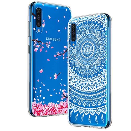 Yoowei [2-Pack] Funda para Samsung Galaxy A50, Transparente con Dibujos Ultra Fino Suave TPU Silicona Protector Carcasa para Samsung Galaxy A50 (Flores de Cerezo, Mandala Blanca)