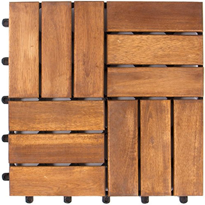 Vanage Holzfliesen 27-er Kachel Set, geeignet als Terrassenfliesen und Balkonfliesen, aus Akazien Holz, Design  Edge, braun, 30 x 30 x 2,4 cm
