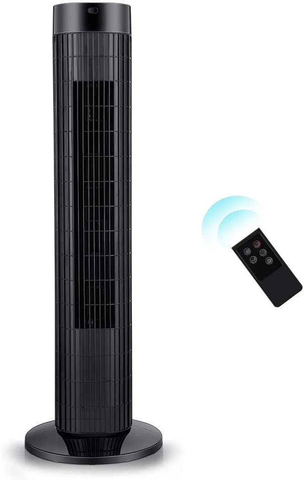 Tower Fan - Quiet Oscillating Cooling Fan with LED Display and Timer Built-in 3 Modes and Speed Settings - Remote Controlled Stand Up Floor Portable Fans for Bedroom and Home Office Use - 30 Inch