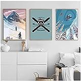 Impresión en lienzo, Retro Addicted To Powder Revel Posters Impresiones Insignia de esquí Arte de la pared Pintura en lienzo Imagen de pared HD para sala de estar Sin marco