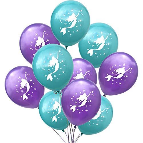 Oblique Unique® Meerjungfrau Luftballon Set für Mädchen Kinder Geburtstag Baby Shower Schuleinführung Feier Motto Party Meerjungfrauen Mermaid Ballons Lila Türkis