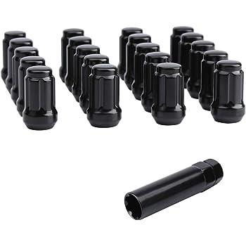 1.4 Mastiff 49097BK Acorn Spline Lug Nut Set Pack of 20 + Key HongSheng Machine 1.4 Height Conical 60 Degree Seat Pack of 20 + Key Black-Chrome Finish Height Conical 60 Degree Seat M12x1.5 Thread 35.6mm 35.6mm