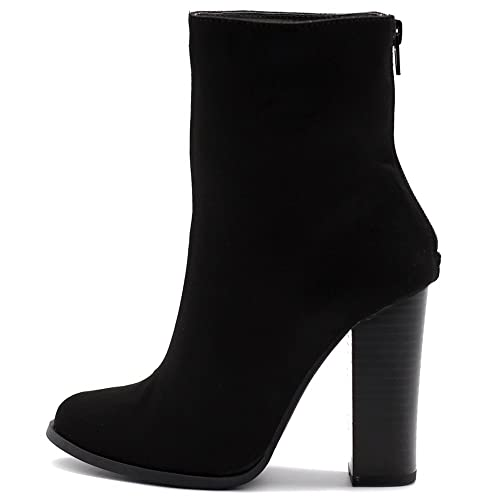 2e067c2c9 Ollio Women's Shoe Faux Suede Back Zip Up Stacked High Heel Ankle Boots