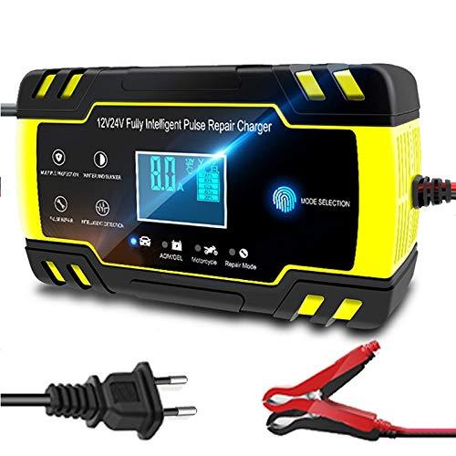 YMSWTF 12V-24V 8A automático Lleno de la batería de Coche Cargador de la energía del Pulso reparación Cargadores seco Mojado de la batería de Plomo-Cargadores Pantalla LCD Digital (Color : EU Plug)