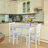 Tischgruppe mit 1 Tisch 2 Stühle Essgruppe Esstischset Sitzgruppe Esstischgruppe Esszimmergarnitur für 2 Personen Esszimmergruppe für Küche Wohnzimmer Massivholz 6117-D01 weiß