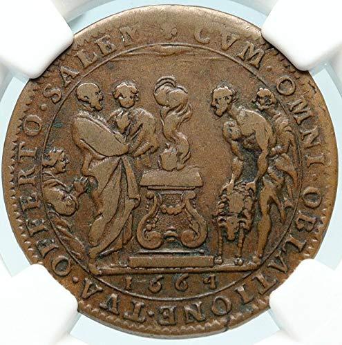 1664 unknown 1664 FRANCE Sun King LOUIS XIV Sacrificial Lamb A coin Good NGC