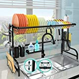 JZBRAIN Over the Sink Dish Drying Rack 22.3' - 37.3' Length and Height 15.8'-17' Adjustable Large Dish Rack Stainless Steel Expandable Storage Organizer Above Sink Kitchen Dish Drainer Shelf Over Sink