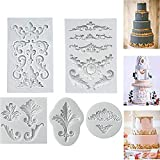 Relief Baroque Vintage Silicone Fondant Mould Lace Flower Border Cake Decorating Cupcake Decoration Icing Paste Chocolate Baking Mould Sugarcraft DIY Pack of 5
