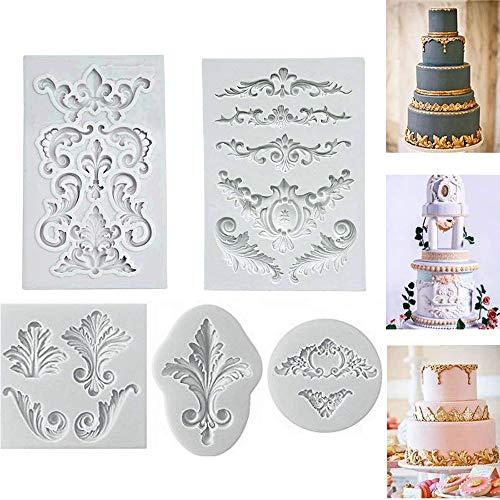 Rilievo barocco vintage silicone fondente stampo pizzo fiore bordo decorazione di una torta cupcake decorazione glassa pasta di cioccolato cottura stampo sugarcraft diy