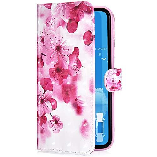 Uposao Kompatibel mit Huawei Honor View 10 Handyhülle Luxus 3D Bunt Bling Glitzer Muster Leder Tasche Schutzhülle Brieftasche Handytasche Lederhülle Klapphülle Hülle Flip Cover,Rot Blumen