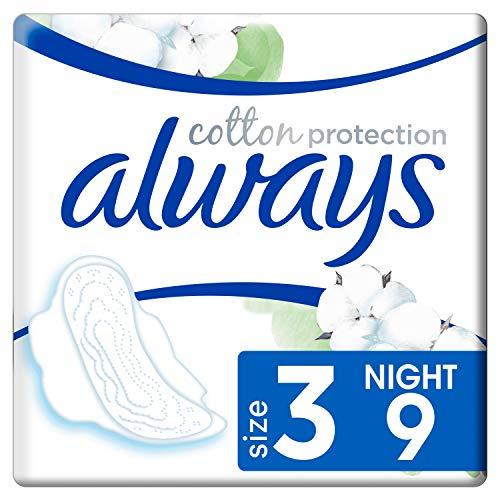 Always Cotton Protection Ultra Nuit (Taille3) Serviettes Hygiéniques Avec Ailettes x9