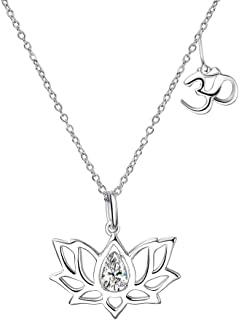 YFN Yoga Lotus Flower Sterling Silver Pendant Necklace with Om Symbol with Pear Shape Cubic Zirconial Lotus Flower Jewelry Earrings for Mom Women Wife Mother Day Birthday Gift