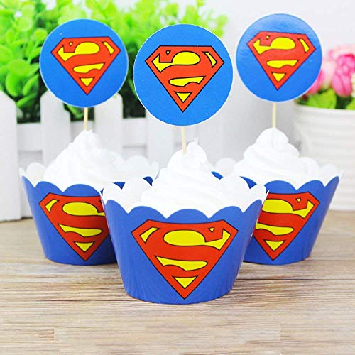 12pc Superman Cupcake Topper and Cupcake Wrapper Picks Boy Children Superhero Party Decoration Kid's Birthday Avengers Party Decoration Supplies (Superman)