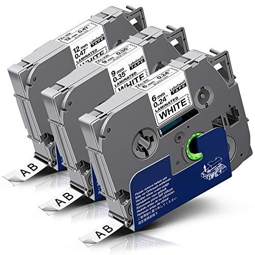 3x Labelwell 6mm/9mm/12mm x 8m Sostituzione Nastro per Etichette Compatibile per Brother Tz TZe-211 TZe-221 TZe-231 per Brother P-Touch Cube Plus PT-P710BT PT1000 PT1010 1280 PT-H107B H100LB PT-H105