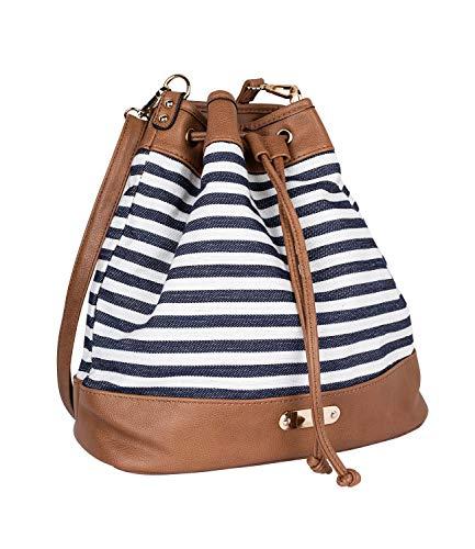 SIX Damen Handtasche, Shopper zum umhängen im maritimen Streifenlook, Knotenverschluss mit goldenen Details (726-738)