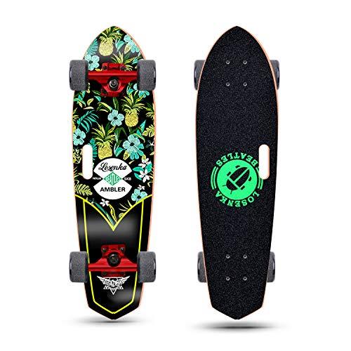 LOSENKA 28 inch Mini Cruiser Skateboard Cruiser | Canadian Maple Deck - Designed for Kids, Teens and Adults (Pineapple & Flower Pro)