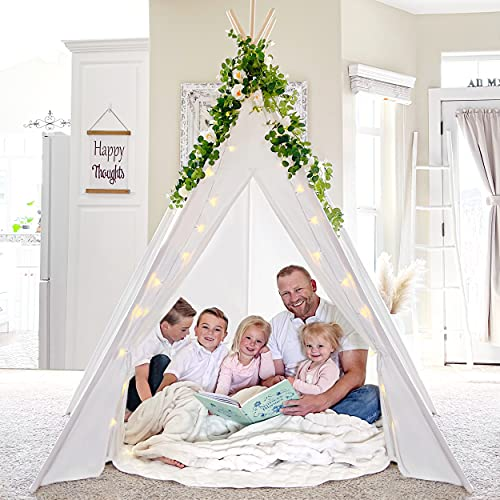 Teepee Tent for Adults & Kids 87 'H- 5 Poles-with Lights String& Soft Mat & Carry Bag, Off-White Cotton Canvas Beach Tent for Wedding, Party, Country-Chic Design- Indoor Outdoor Décor, Patio Décor