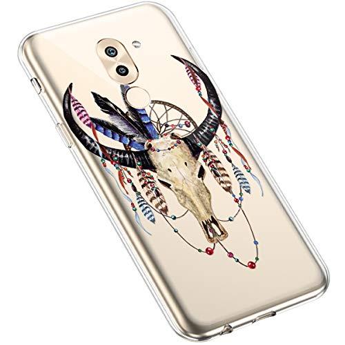 Uposao Huawei Honor 6X Coque Silicone Transparente Motif Mandala Fleur Coloré Jolie Beau Housse de téléphone Semi Hybrid Crystal Case Antichoc Coque Housse Étui pour Huawei Honor 6X,#12
