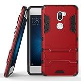 Funda para Xiaomi Mi 5S Plus (5,7 Pulgadas) 2 en 1 Híbrida Rugged Armor Case Choque Absorción Protección Dual Layer Bumper Carcasa con Pata de Cabra (Rojo)