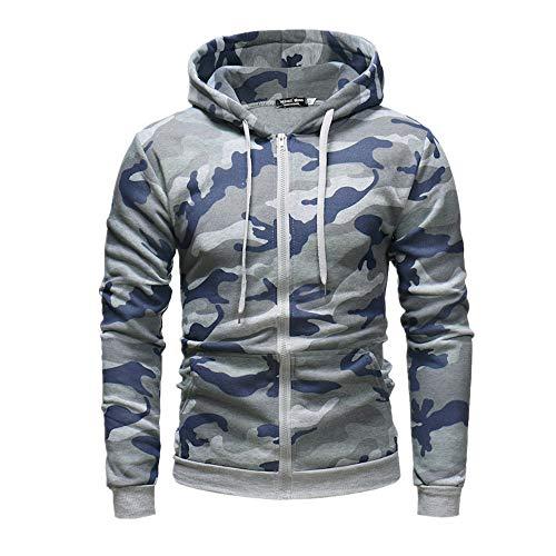 Hommes Automne Personnalisé Zipper Camouflage Hoodie Hommes Pull - Gris - XXL