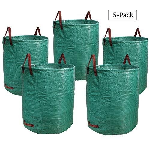 PHYEX 5-Pack 72 Gallons Garden Bag Heavy Duty Gardening Bags, Lawn Pool Garden Leaf Waste Rubbish Plants Grass Bag (5 X 72Gallons)