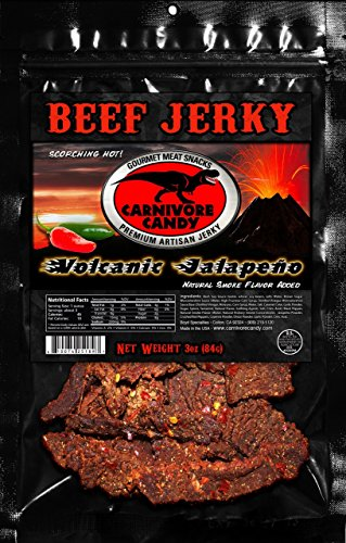 Carnivore Candy Beef Jerky Three Pack (Three 3oz Bags) (Volcanic Jalapeno)