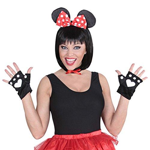NET TOYS Mauskostüm Set Maus Kostüm 3 TLG. Minnie Mouse Kostümset Disney Mäusekostüm Tierkostüm Mäuschen Mottoparty Verkleidungsset Karnevalskostüme Damen Tier