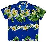 Alvish - Camisas hawaianas para niños con estampado de flores de hibisco, playa Aloha Party Camp de manga corta Azul azul S