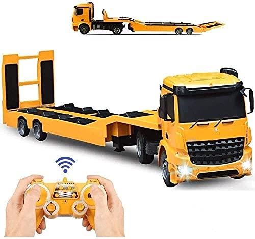 UimimiU Rc Camión de remolque Semirremolque plano desmontable,2.4 GHz Camión de remolque de control remoto de camión de carga de ingeniería eléctrica,juguete electrónico con sonido y luces,el mejor re