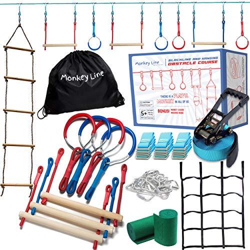 Ninja Warrior Obstacle Course for Kids - 50 ft Ninja Slackline 9 Obstacles – Ninja Obstacle Course for Kids Backyard – Ninja Warrior Training Equipment for Kids Monkey Bars, Monkey Ladder & More!