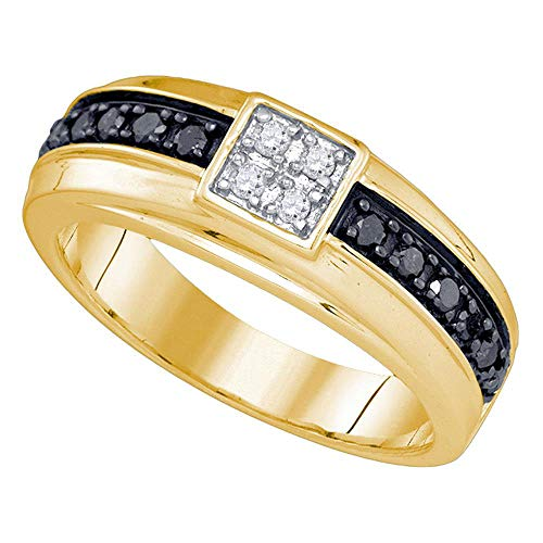 Dazzlingrock Collection 10kt Yellow Gold Mens Round Black Color Enhanced Diamond Cluster Wedding Band Ring 1/2 ctw