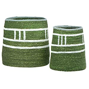 "Hand-woven seagrass basket set Green with a white, woven stripe pattern Set of two sizes Decorative and multi-functional design Piece 1 - 6"" Round x 9""H"