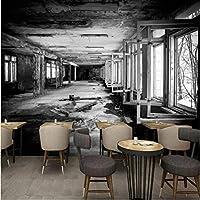 Iusasdz 写真壁紙モダンパーソナリティノスタルジックレトロファクトリーブラックホワイトグラフィティ壁画ロビーリビングルームスタジオ壁紙-120X100Cm