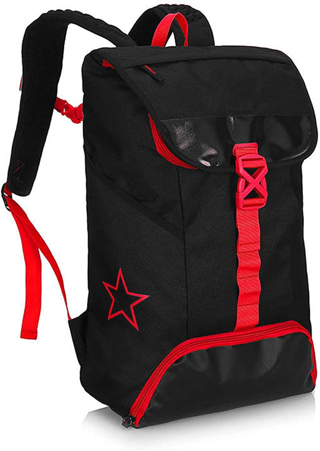 Lixin Travel Bag Large Capacity Double Shoulder Mountaineering Bag (color   Black Red, Size   51  35cm)