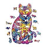 138 piezas de puzle de madera – piezas de puzle de forma única de gato colorido mejor regalo para adultos y niños, juguetes de Puzzle en forma de animales