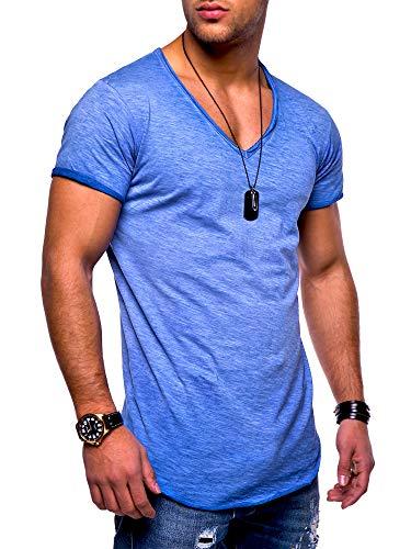 behype. Herren Kurzarm Basic T-Shirt V-Neck Ausschnitt Oversize-Look 20-0002 Blau M