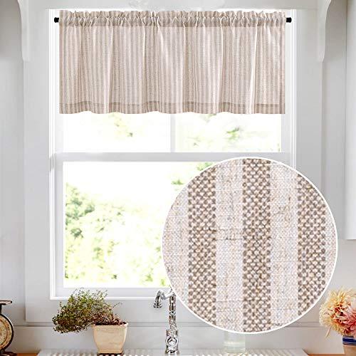 "Valance Linen Textured Stripe Pattern Short Curtains for Kitchen Bathroom Rod Pocket Window Treatments 1 Panel 16"" Taupe on Beige"