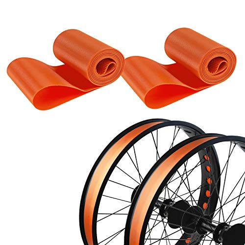 Addmotor Rim Strip Rim Tape 26 inch Fat tire Liner PVC Inner Tube Cushion Protector Anti Puncture for Bikes 2PCS (Orange)