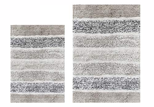 Juego de 2 alfombras de baño acolchadas, color gris claro, antideslizante, absorbente, 100% algodón, para cocina, sala de estar, entrada, lavable a máquina, 53 x 81 x 61 cm