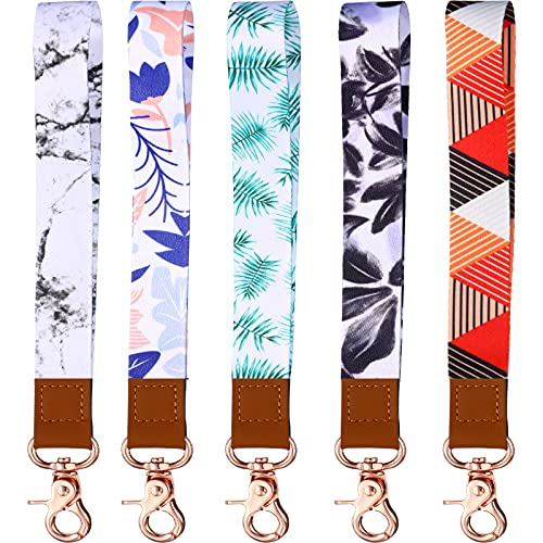 5 Pieces Wrist Keychain Lanyard Wristlet Strap Lanyard Key Chain Holder Lanyard Hand Wrist Lanyard for Women Men Wallet, Key, Mobile Phone, ID Card Holder (Classic Style)