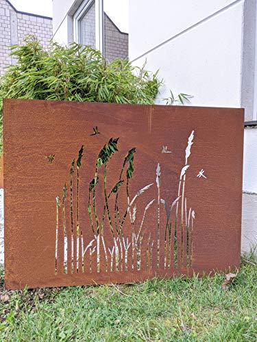 Zen Man Edelrost Garten Sichtschutzwand Rost Sichtschutz aus Stahlblech Rost Gartenzubehör L100*H75cm 1mm 032004