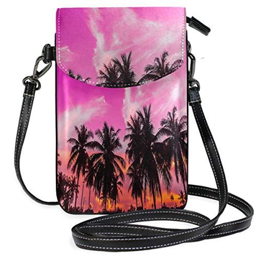 ZZKKO Handtasche mit Palmenmotiv, tropische Szene, Mini-Umhängetasche, Handtasche, Leder, für Damen, für den täglichen Gebrauch, Reisen, Wandern, Camping