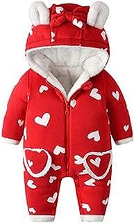 Inlefen Baby Jumpsuit Pjs Autumn Winter Thick Three-Layer Hoodied Cotton Zipper Warm Newborn Baby One-Pieces Bodysuits